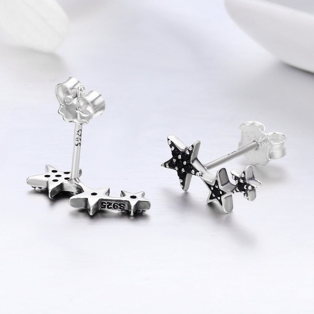 Authentic 925 Sterling Silver Stackable Star Black CZ Stud Earrings for Women Sterling Silver Jewelry Bijoux SCE292