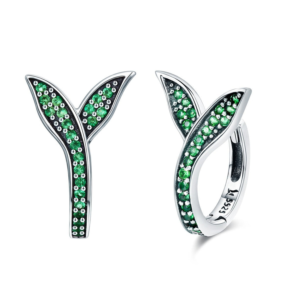 100% 925 Sterling Silver Spring Collection Flower Buds Green CZ Hoop Earrings for Women Sterling Silver Jewelry SCE295