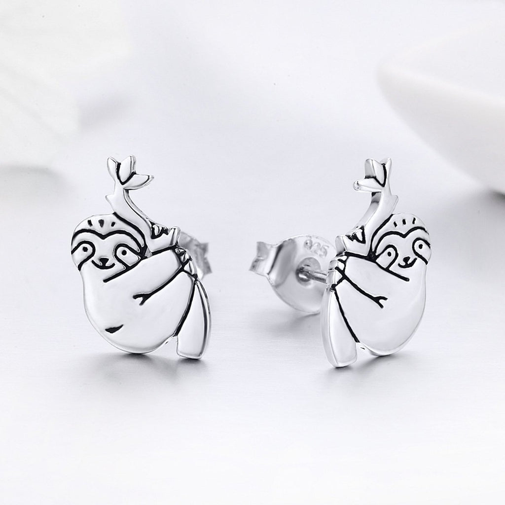 Hot Sale 100% 925 Sterling Silver Lovely Sloth Animal Small Stud Earrings for Women Sterling Silver Jewelry S925 SCE327