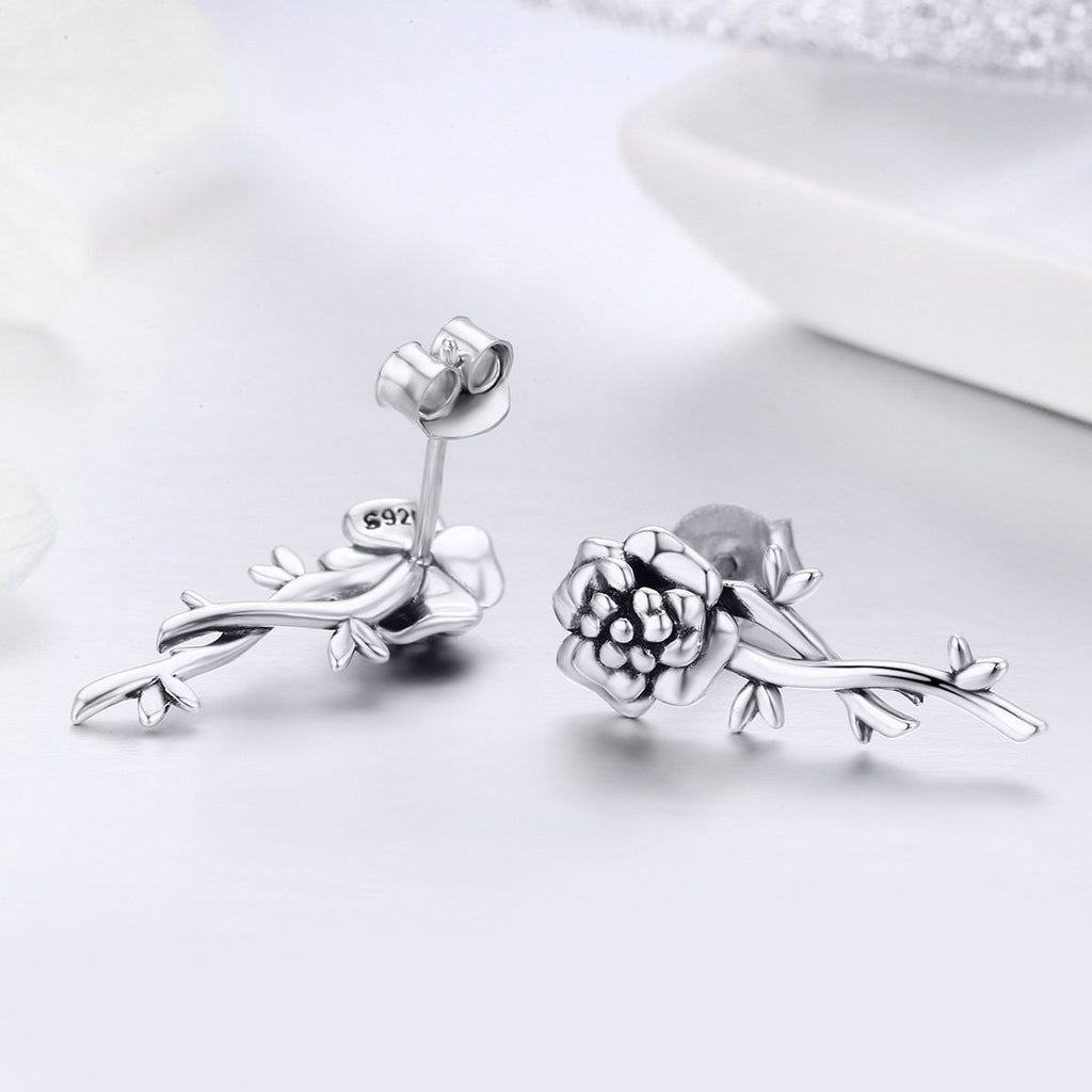 100% 925 Sterling Silver Pomegranate Flower Romantic Love Drop Earrings for Women Wedding Engagement Jewelry S925 SCE336