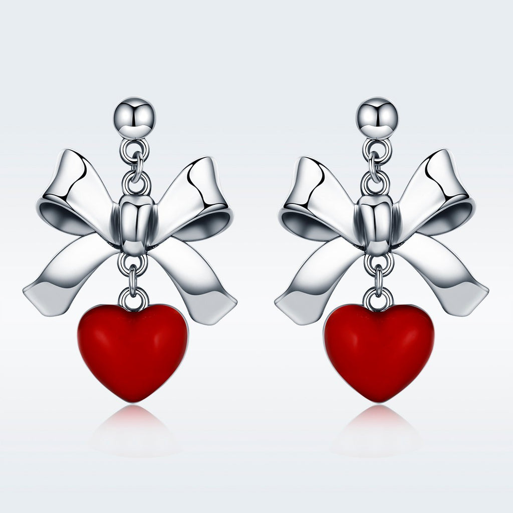 Sweet New 100% 925 Sterling Silver Red Heart with Bowknot Female Stud Earrings for Women Sterling Silver Jewelry SCE355