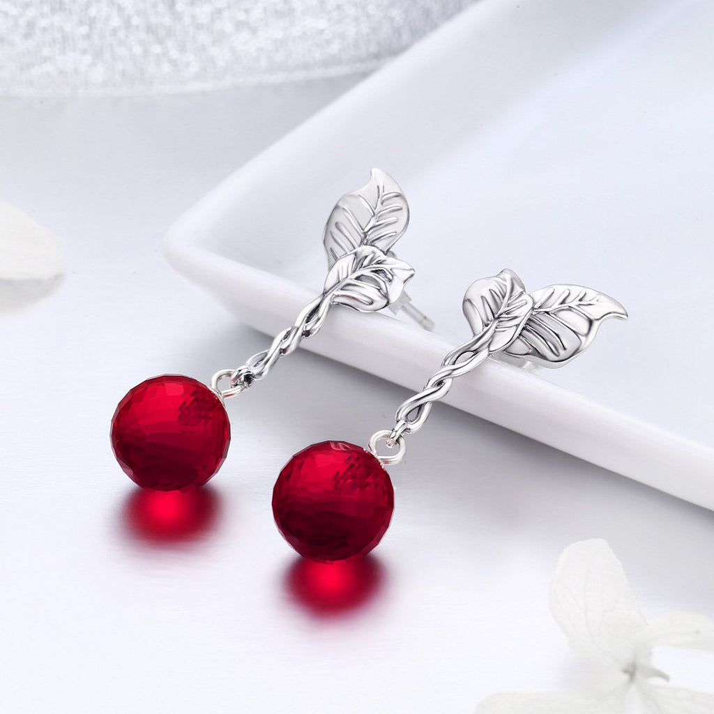 Summer Collection 100% 925 Sterling Silver Summer Fruit Red Crystal Drop Earrings for Women Fine Silver Jewelry SCE356