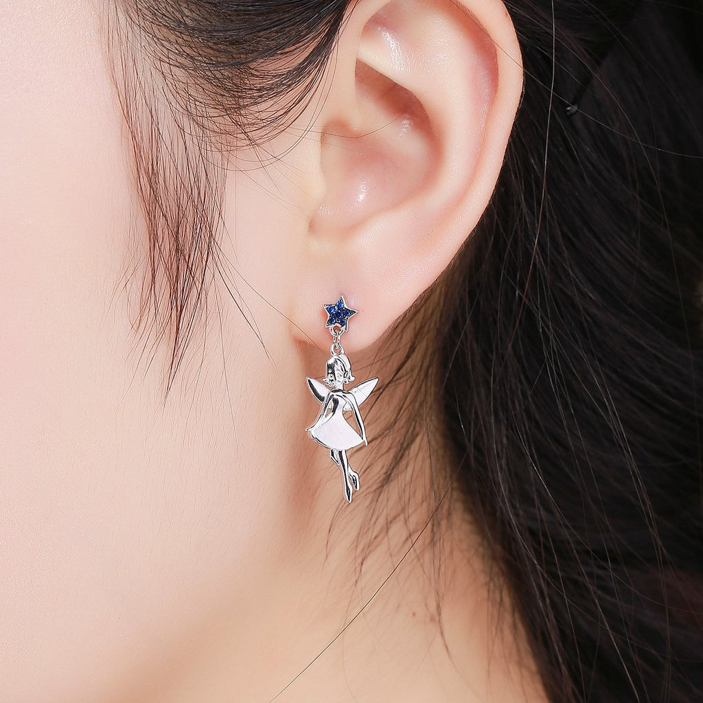 New Collection 925 Sterling Silver Dancing Guardian Fairy Drop Earrings for Women Sterling Silver Jewelry Gift SCE376