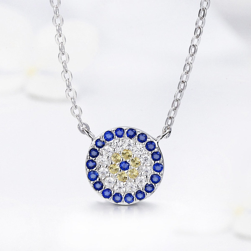 925 Sterling Silver Trendy Round Blue Clear Cubic Zircon Pendant Necklaces Women Authentic Silver Jewelry SCN089