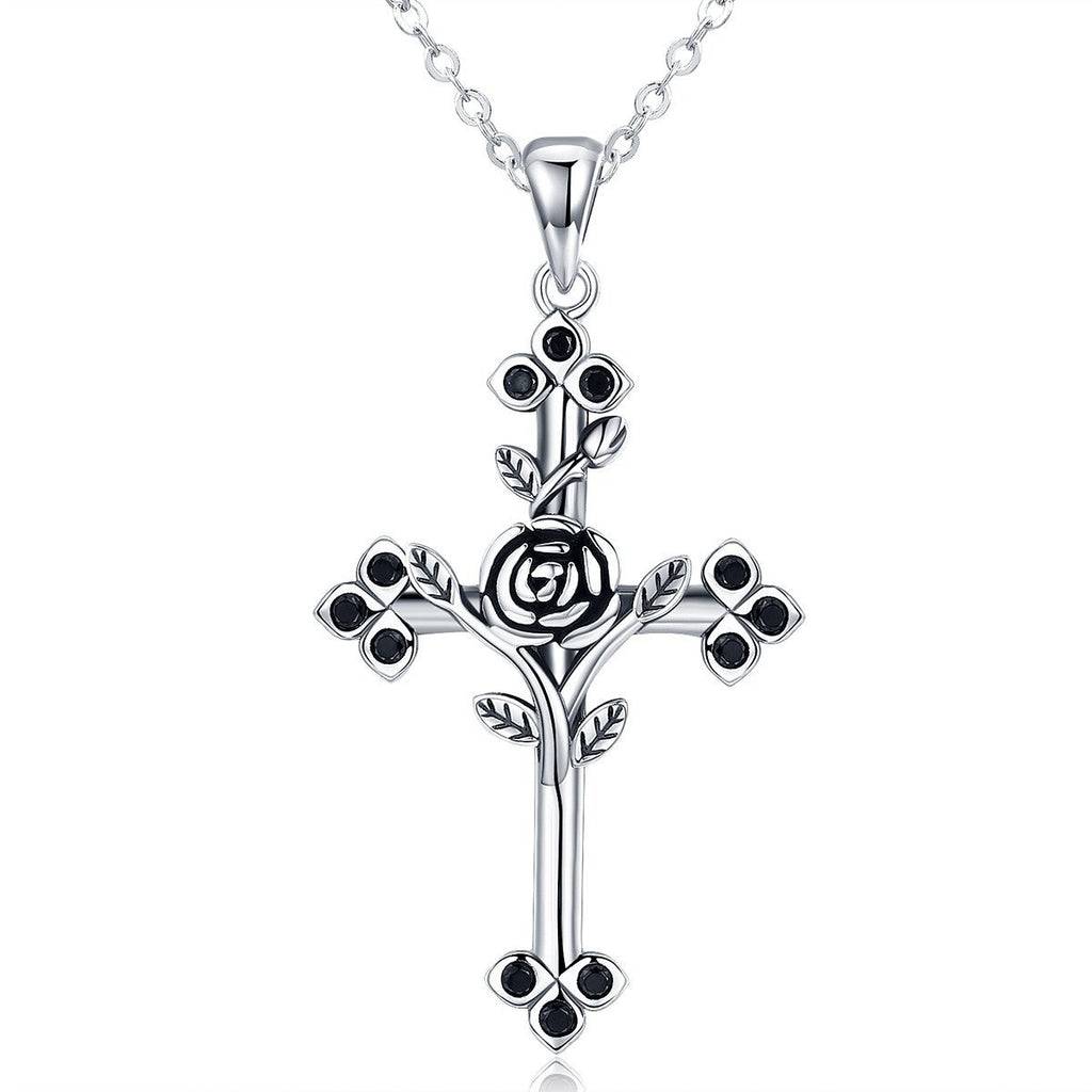 925 Sterling Silver Rose Flower Leaf Cross Pendant Necklaces for Women Sterling Silver Jewelry SCN091