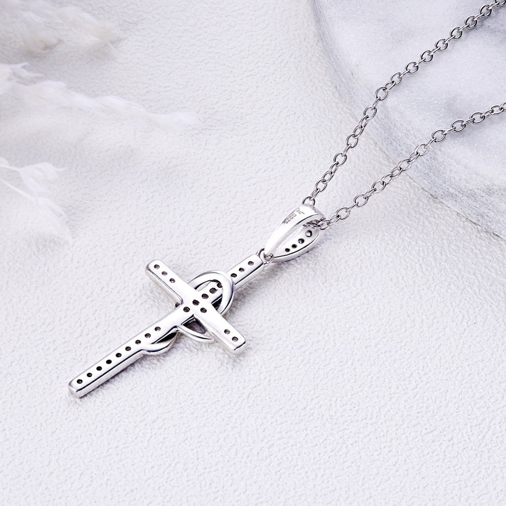 925 Sterling Silver Faith In Heart Cross Crystal Pendant Necklaces Women Fashion Jewelry Gift SCN104