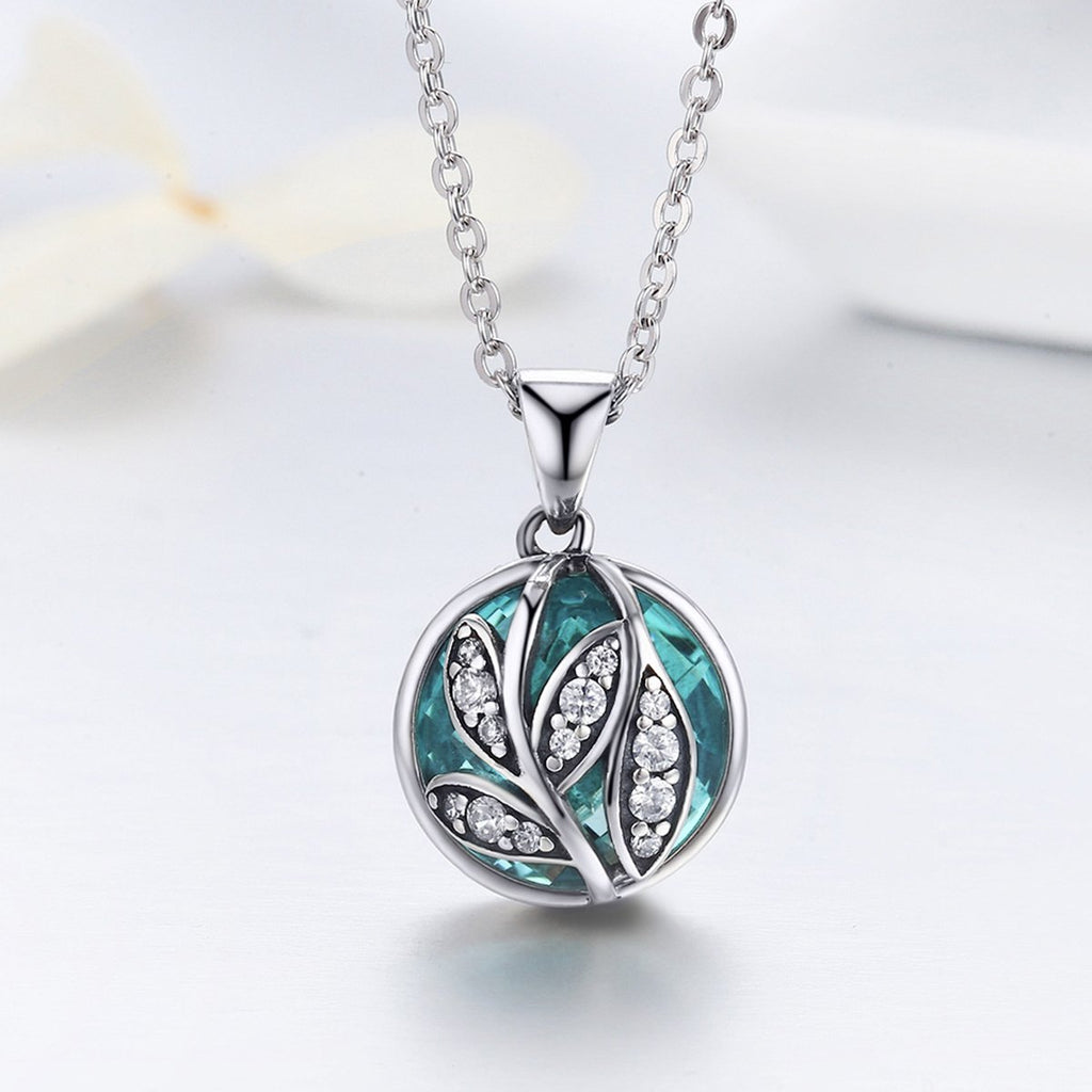 925 Sterling Silver Green Crystal CZ Tree of Life Pendant Necklaces for Women Fine Jewelry Gift SCN109