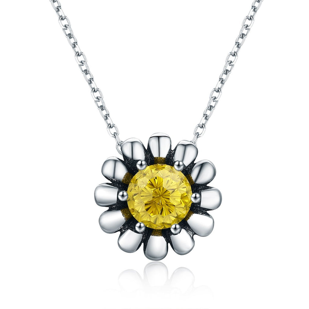 100% 925 Sterling Silver Blooming Yellow Daisy Flower Clear CZ Pendant Necklace for Women Luxury Silver Jewelry SCN184