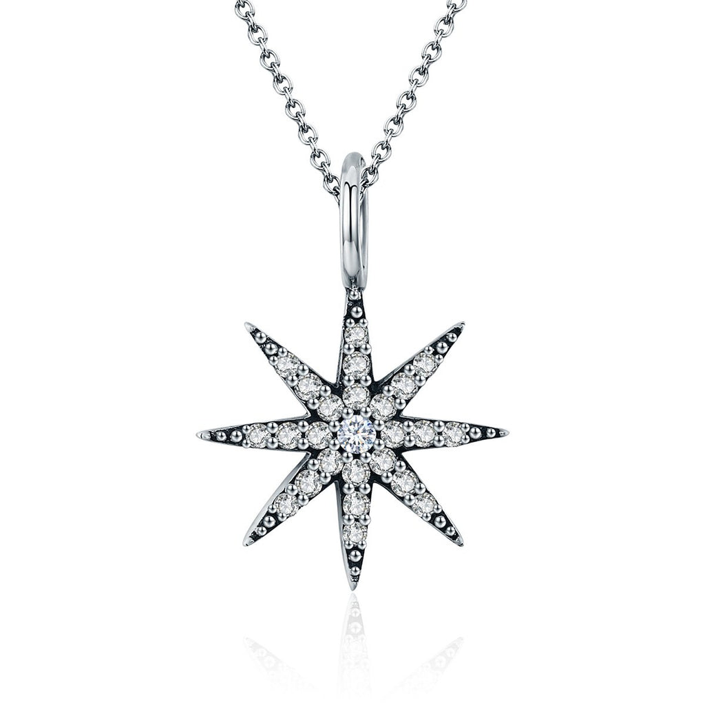 Genuine 100% 925 Sterling Silver Sparkling Star Dazzling CZ Pendant Necklaces for Women Sterling Silver Jewelry SCN204
