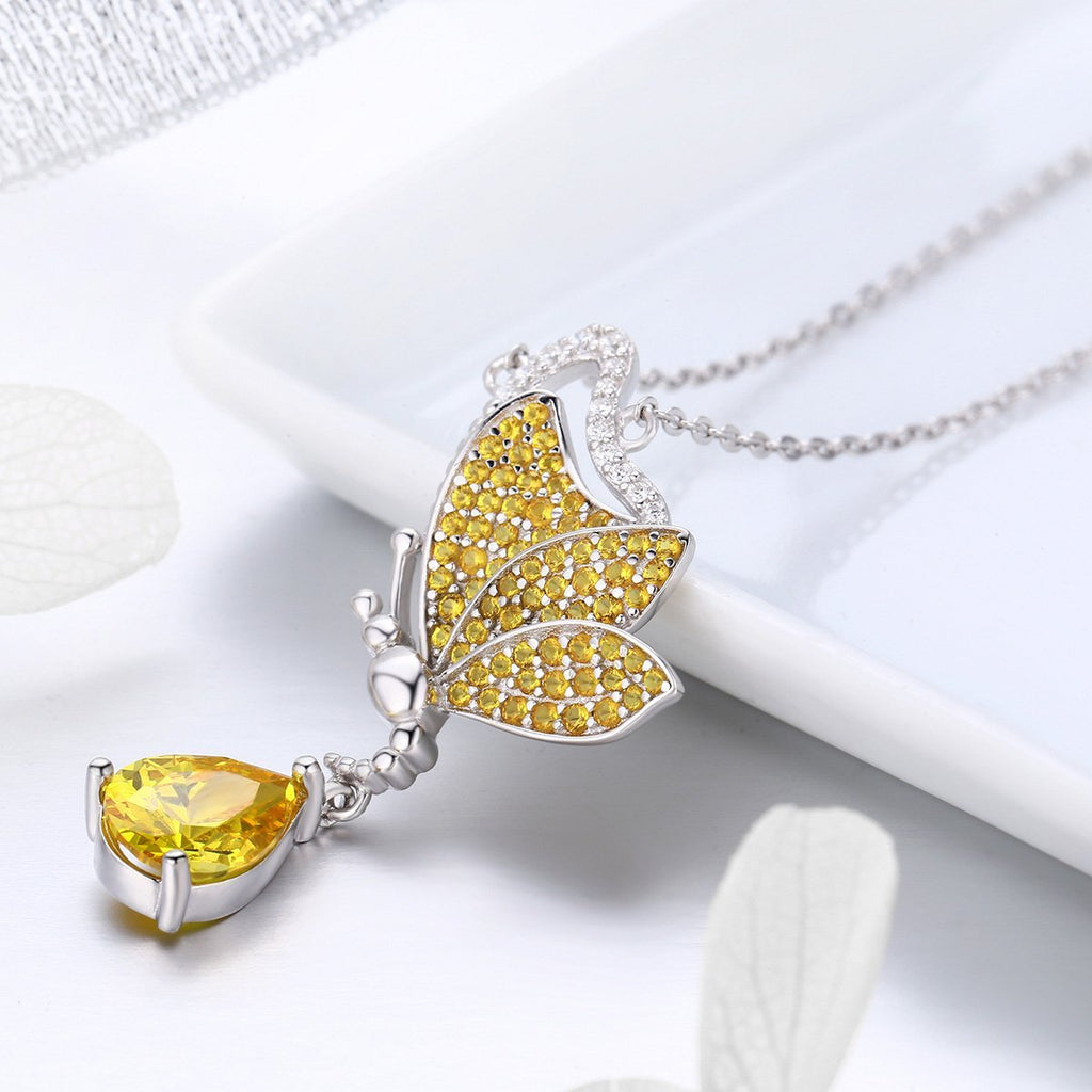 New Trendy 100% 925 Sterling Silver Sparkling Dancing Butterfly Pendant Necklaces Women Sterling Silver Jewelry SCN241