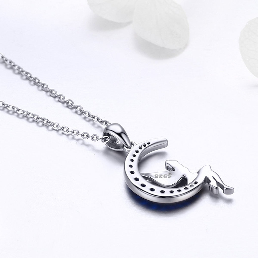 Hot Sale 100% 925 Sterling Silver Lucky Fairy in Blue Moon Pendant Necklaces Women Sterling Silver Jewelry Gift SCN244