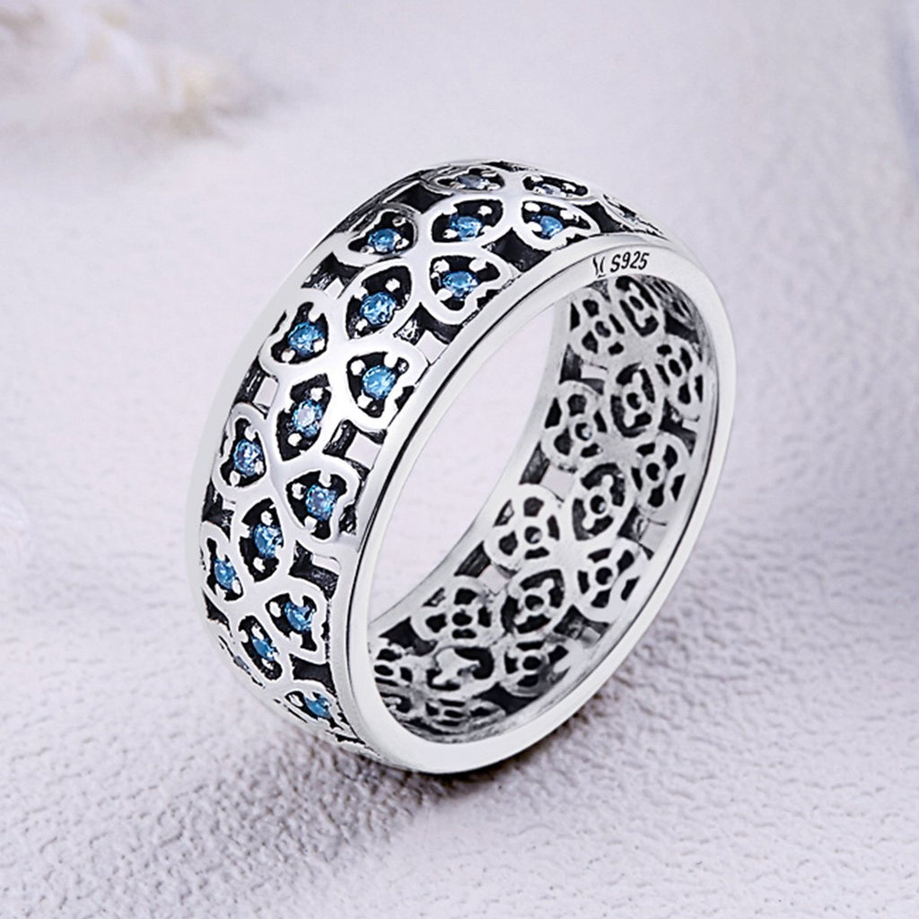 925 Sterling Silver Petals of Love Sweet Clover Blue Cubic Zircon Finger Rings for Women Engagement Jewelry S925 Gift SCR064