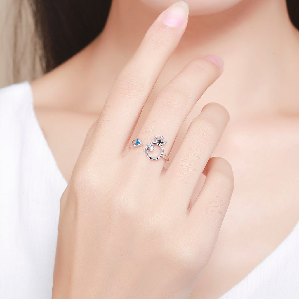 925 Sterling Silver Adorable Fish Light Blue Crystal Finger Rings for Women Jewelry Gift SCR079