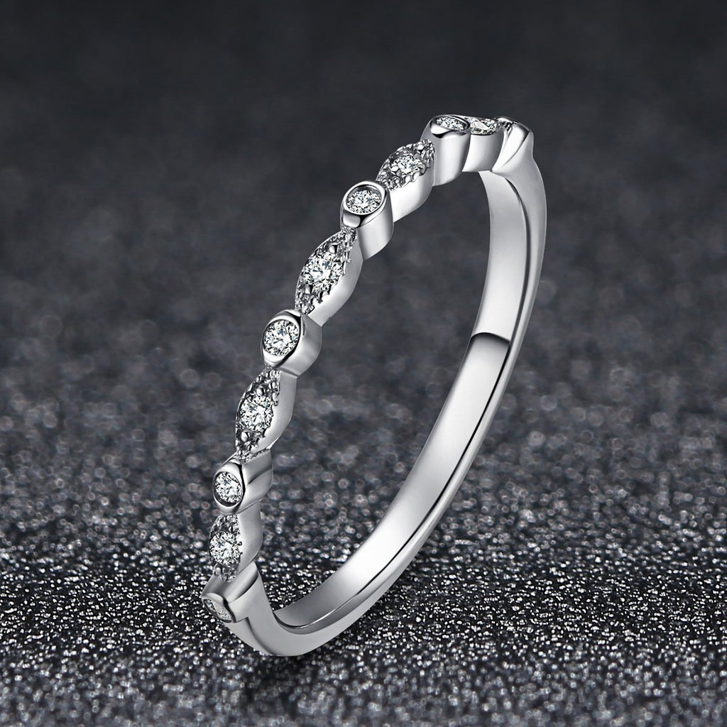 925 Sterling Silver Dazzling Cubic Zirconia Minimalism Ring for Women Wedding Jewelry Girlfriend Gift SCR084