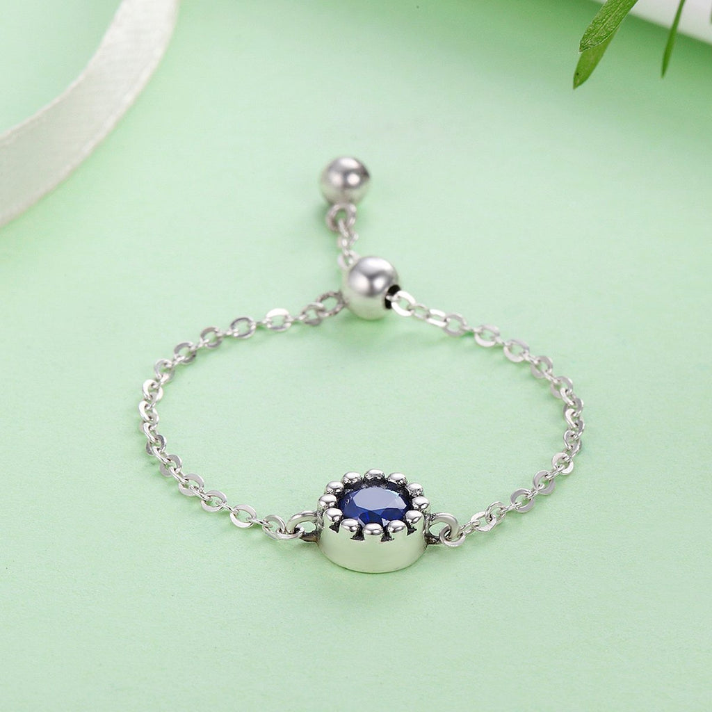 Trendy New Genuine 925 Sterling Silver Luminous Blue Crystal Chain Finger Women Ring Authentic Silver Jewelry Anel SCR089
