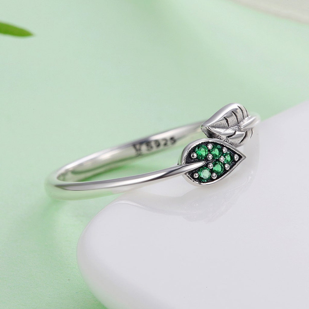 100% 925 Sterling Silver Dancing Leaves Leaf Green Dazzling CZ Finger Rings for Women Engagement Jewelry Anel Gift SCR093
