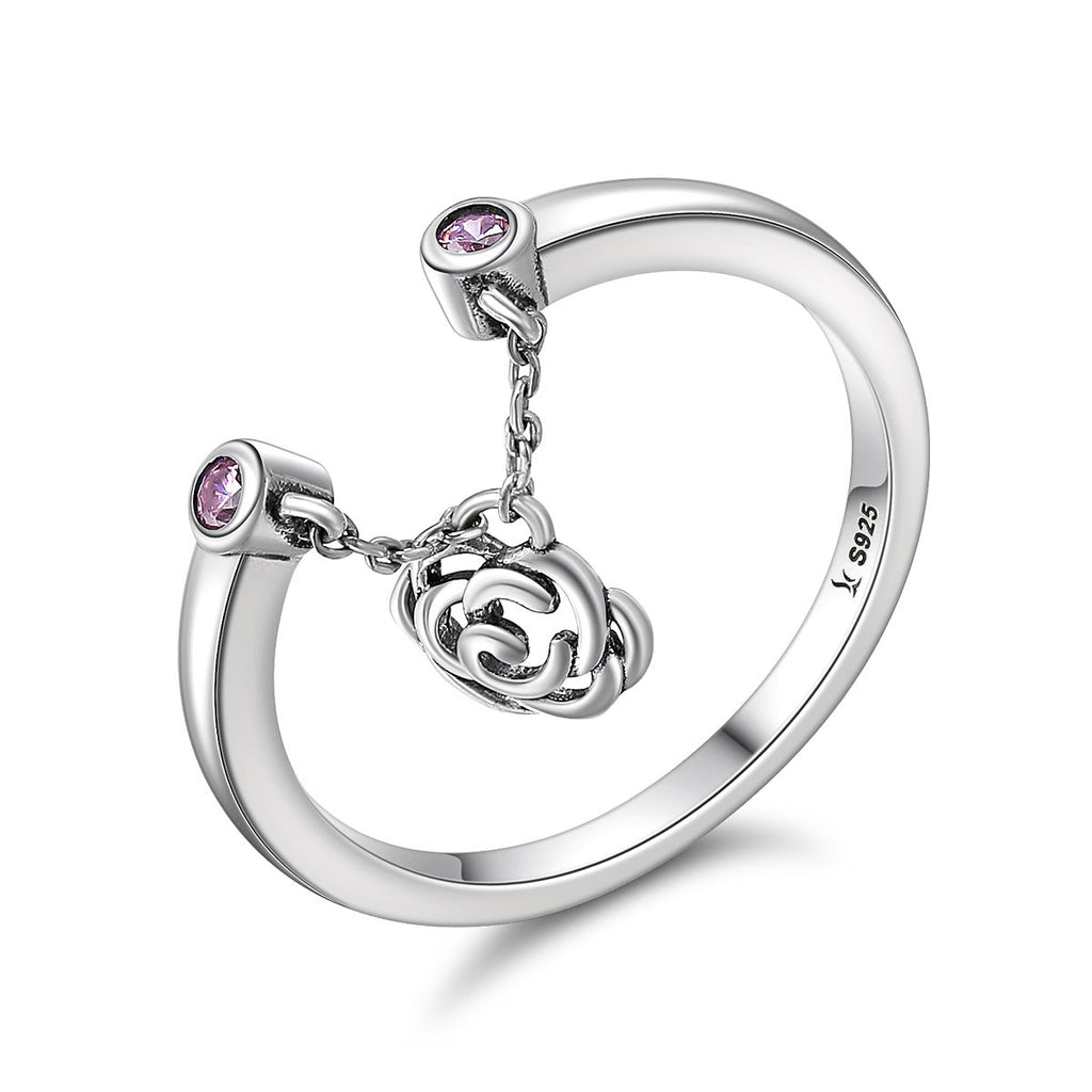 925 Sterling Silver Flower Rose Story Rose Dangle Ring Women Sterling Silver Jewelry Gift SCR148