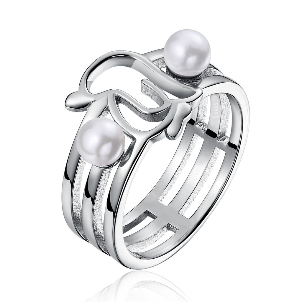 925 Sterling Silver Openwork Penguins & Simulated Pearl Finger Ring for Women Anniversary Jewelry Gift  SCR152