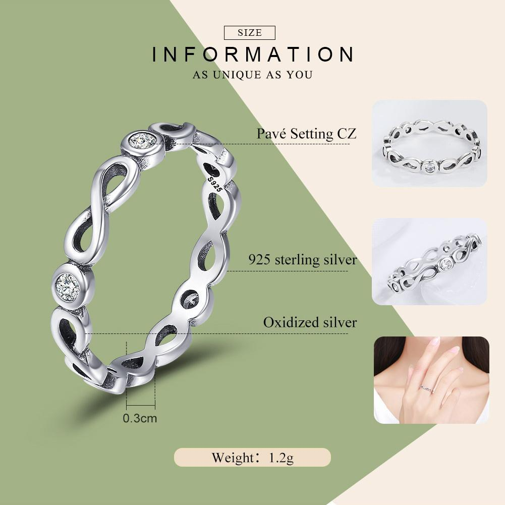 Authentic 100% 925 Sterling Silver Infinity Blessings Endless Love Finger Rings for Women Sterling Silver Jewelry SCR181