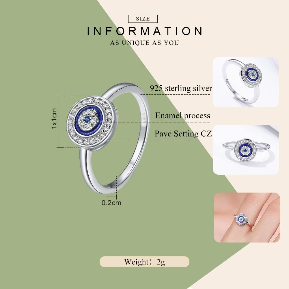 Authentic 100% 925 Sterling Silver Lucky Blue Eyes Women Finger Ring Wedding & Engagement Jewelry Ring SCR208