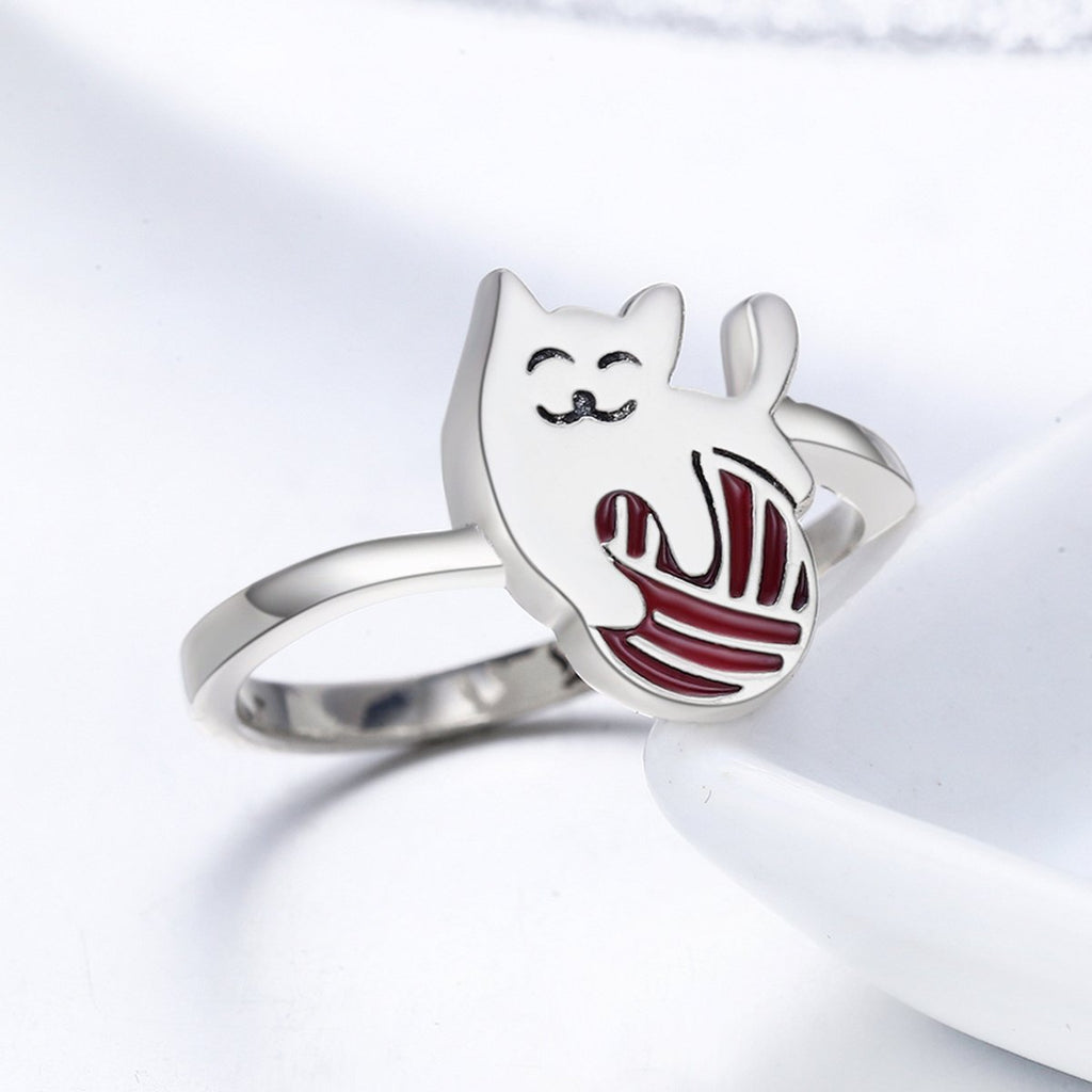 Authentic 100% 925 Sterling Silver Exquisite Play Ball Little Cat Finger Ring Women Sterling Silver Jewelry S925 SCR211