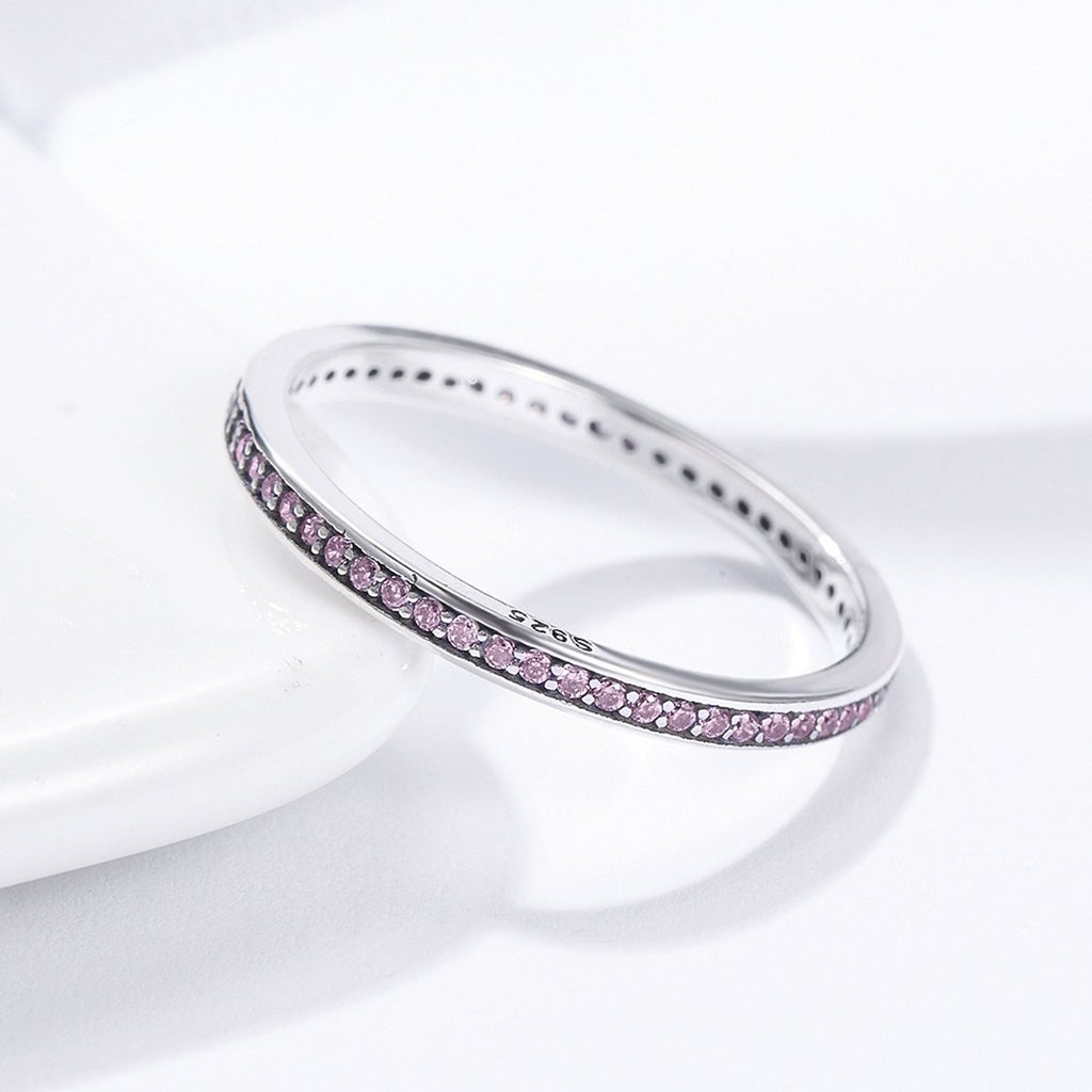 Authentic 925 Sterling Silver Luminous CZ Pink Round Female Finger Rings for Women Engagement Jewelry SCR228