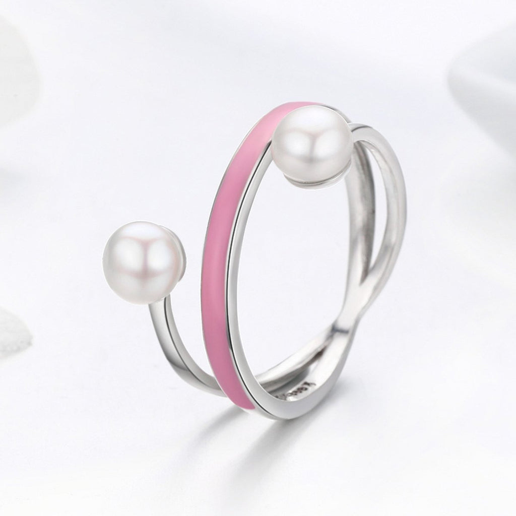 100% Real 925 Sterling Silver Elegant Pink Enamel Freshwater Pearl Finger Rings for Women Sterling Silver Jewelry SCR234