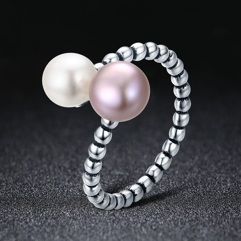 2018 New 925 Sterling Silver Freshwater Pearl Female Rings for Women Engagement Jewelry Adjustable Ring S925 SCR235