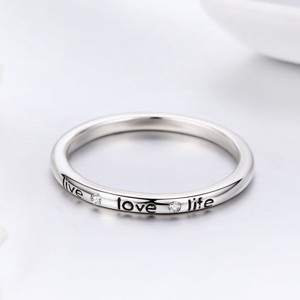 100% Authentic 925 Sterling Silver Live Love Life Letter Engrave Finger Ring for Women Wedding Engagement Jewelry SCR275