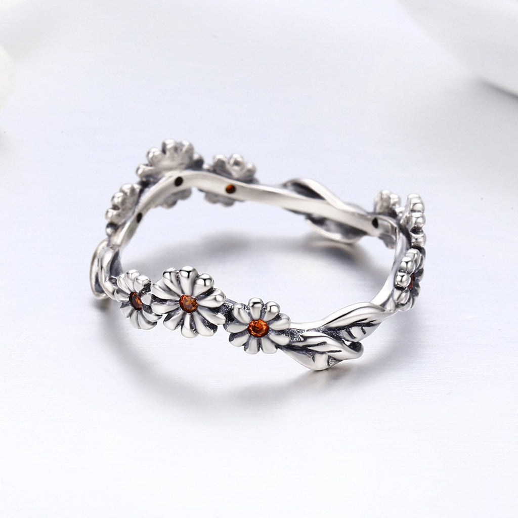100% 925 Sterling Silver Twisted Daisy Flower Female Finger Rings for Women Wedding Silver Jewelry Anel SCR298