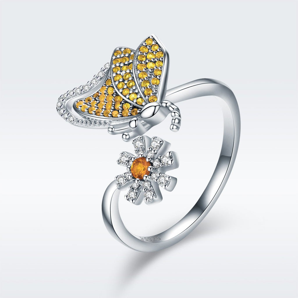 100% Genuine 925 Sterling Silver Butterfly & Daisy Flower Female Ring for Women Wedding Engagement Jewelry Gift SCR354