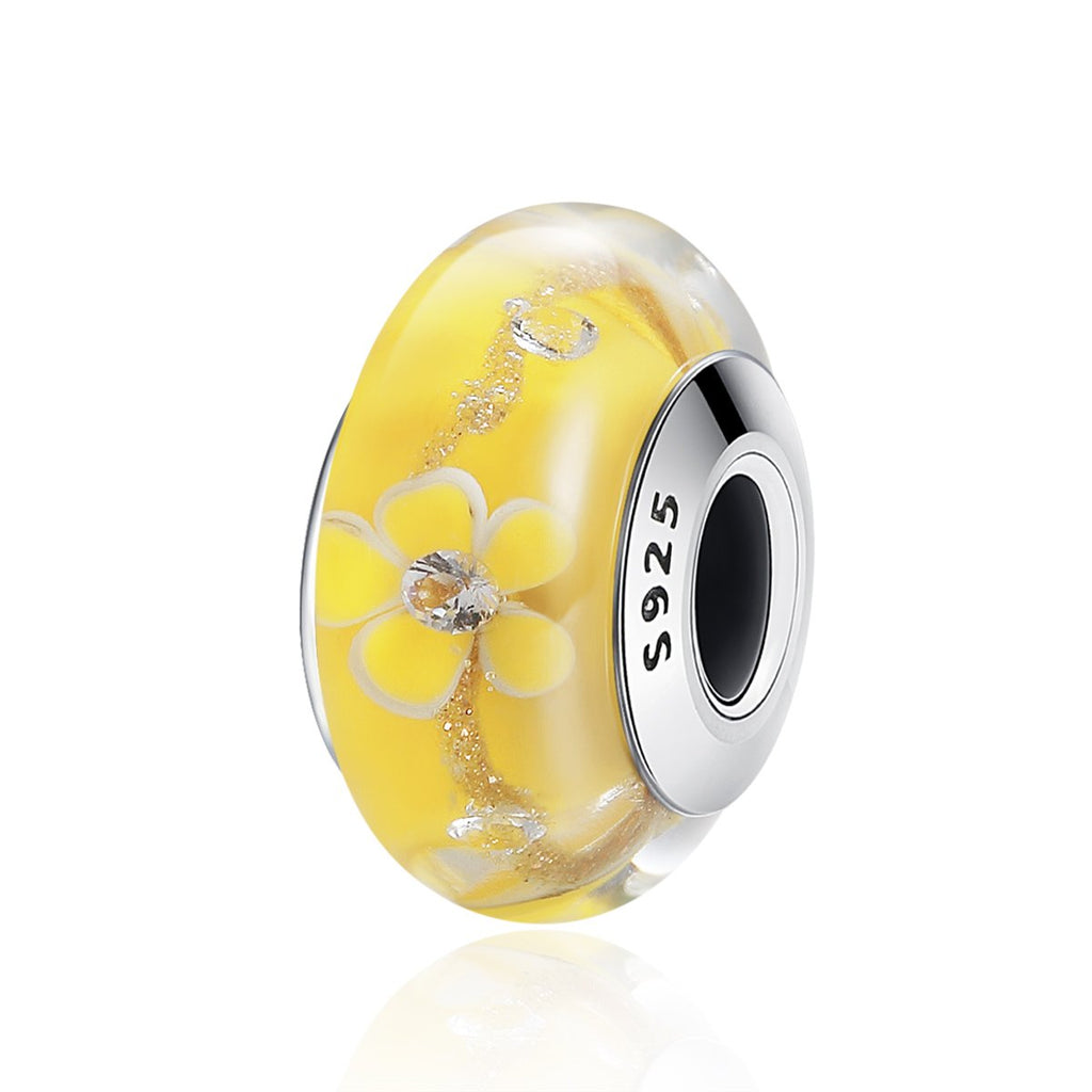 Authentic 925 Sterling Silver Romantic Yellow Flower Murano Glass Beads fit Charm Bracelet Jewelry SCZ052