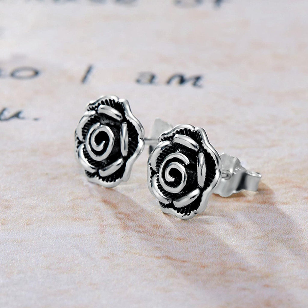 Retro Authentic 925 Sterling Silver Black Rose Flower Stud Earrings For Women Fine Jewelry Valentine's Day Gift VSE024
