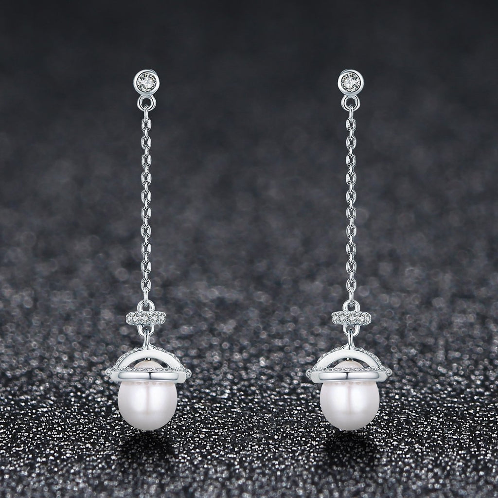 925 Sterling Silver Natural Freshwater Pearl Clear CZ Nuts Long Drop Earrings Women Wedding Elegant Brinco Gift VSE125