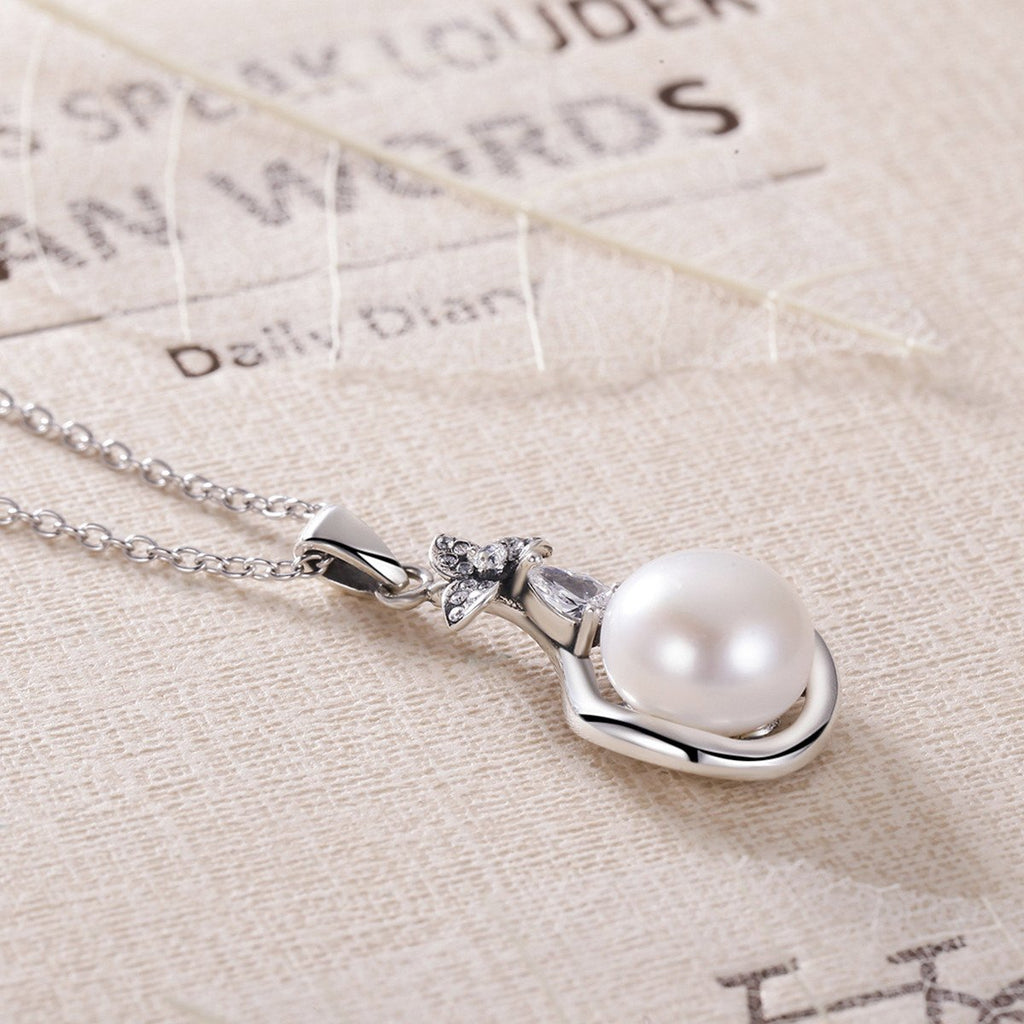 925 Sterling Silver Glittering Flower Natural Freshwater Pearl Pendant Necklace for Women Wedding Fine Jewelry VSN014