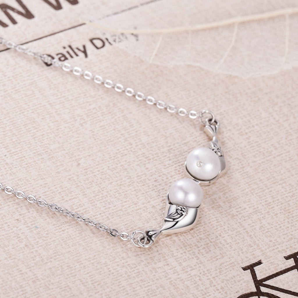 925 Sterling Silver Natural Freshwater Pearls Inseparable Wings Bird Pendants Necklace For Women Wedding Fine Jewelry VSN023
