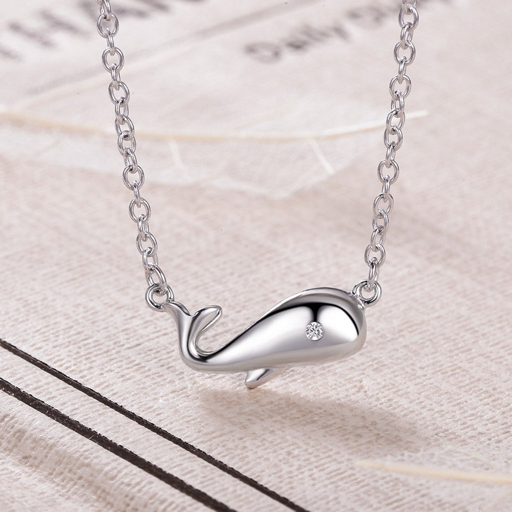 925 Sterling Silver Ocean Smooth Dolphin Pendant Chain Link Necklace For Women Wedding Fine Jewelry VSN027