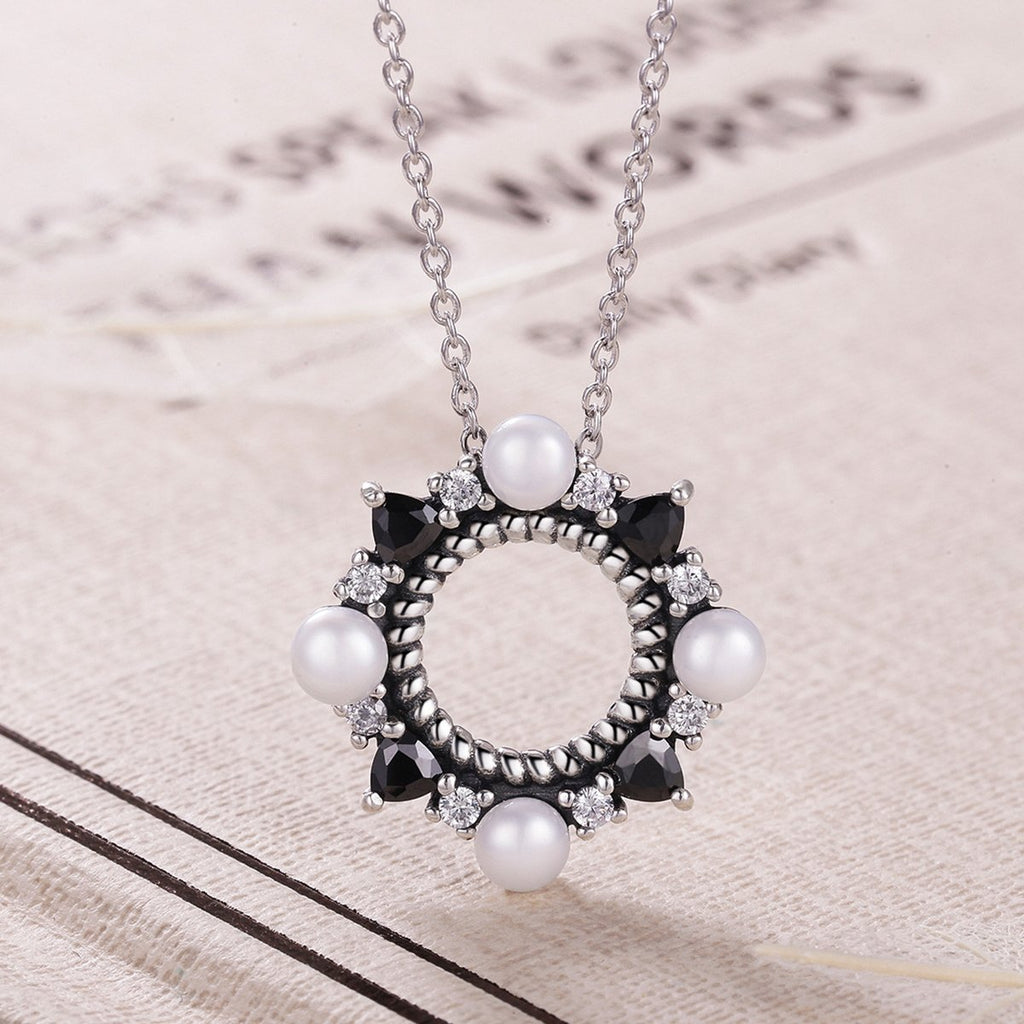925 Sterling Silver Freshwater Pearl White and Black Cubic Zircon Pendants Necklace For Women Wedding VSN032