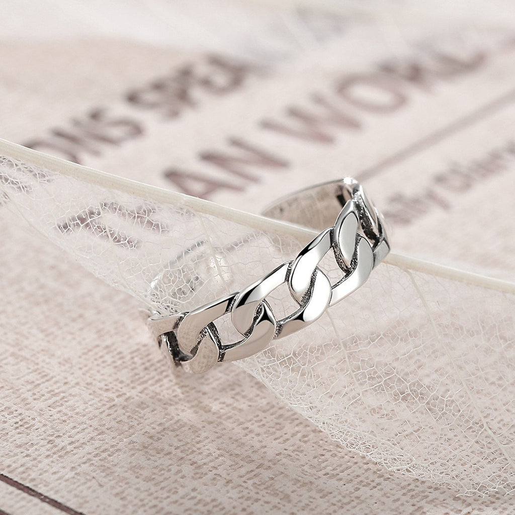 Simple Strackable Twine Chain Pattern Rings Cuff Open Adjustable 925 Sterling Silver Ring VSR036
