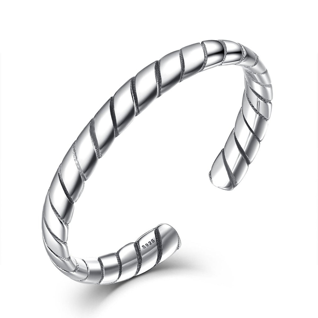 925 Sterling Silver Minimalist Crave Ring Retro Open Adjustable Cuff Rings Woman Stackable Fine Jewelry VSR037