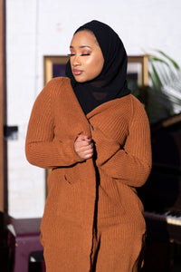 Essential Maxi Cardigan-Brown