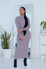 Load image into Gallery viewer, Ribbed Turtleneck Midi Dress-Gray