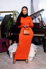 Load image into Gallery viewer, Essential Maxi Bodycon Dress-Orange