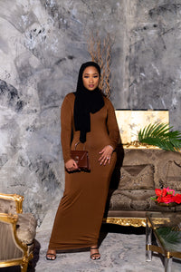 Essential Maxi Bodycon Dress-Brown