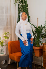 Load image into Gallery viewer, Royal Blue Satin Wrap Skirt