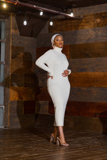 Load image into Gallery viewer, Ribbed Turtleneck Midi Dress-Ivory