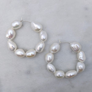 Arabella large baroque pearl hoop earrings