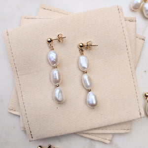 Pearl gold stud drop earrings
