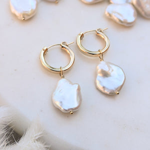 Petal pearl hoop earrings