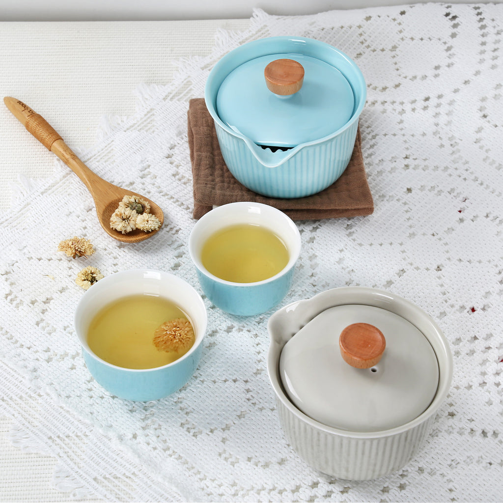 ceramic portable tea set-burnt cream sharing set 04